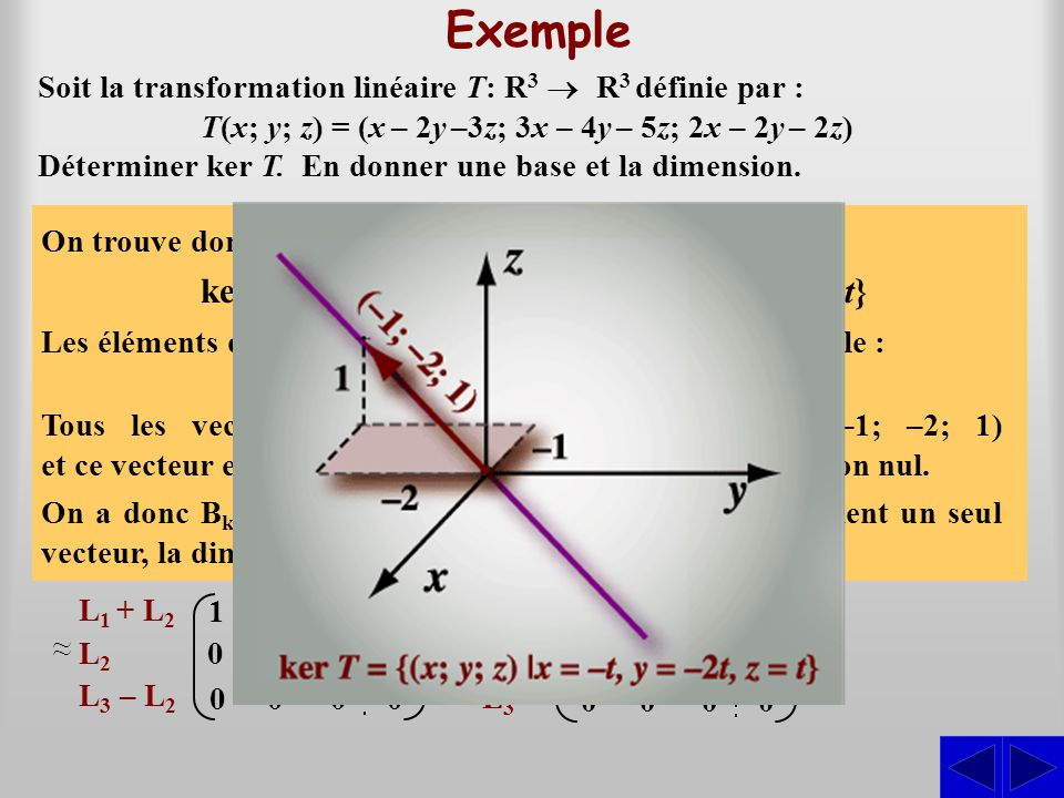 Exemple ker T = {(x; y; z) Î R3 | x = –t, y = –2t et z = t} S S S