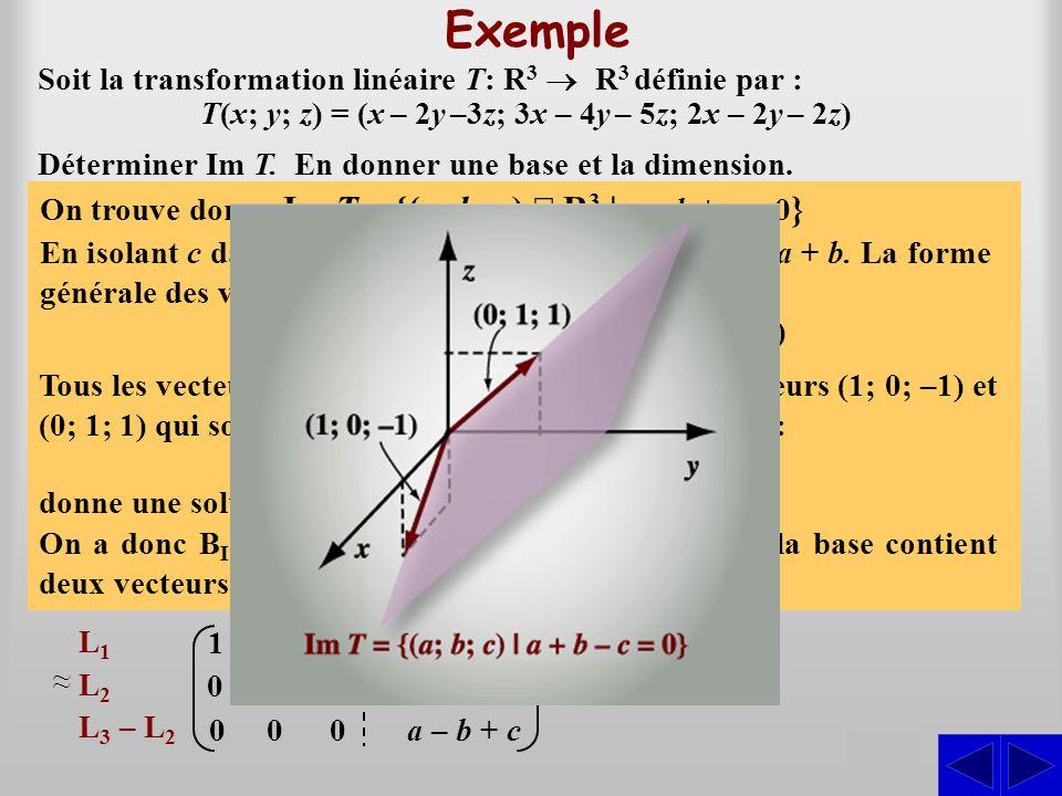 Exemple S S S Soit la transformation linéaire T: R3 ® R3 définie par :