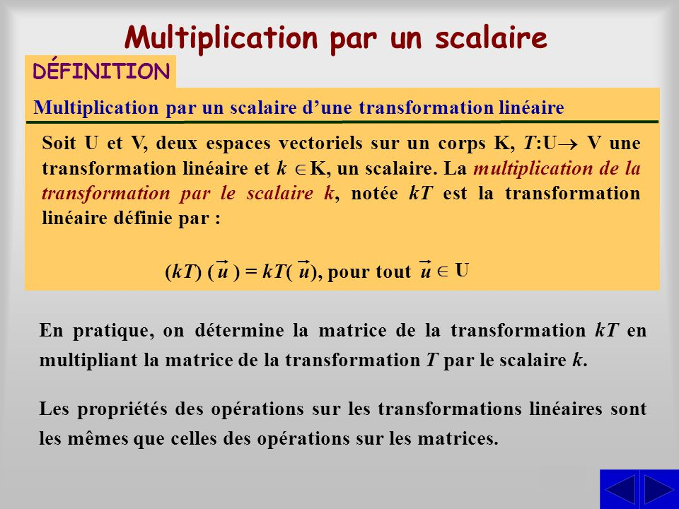 Multiplication par un scalaire