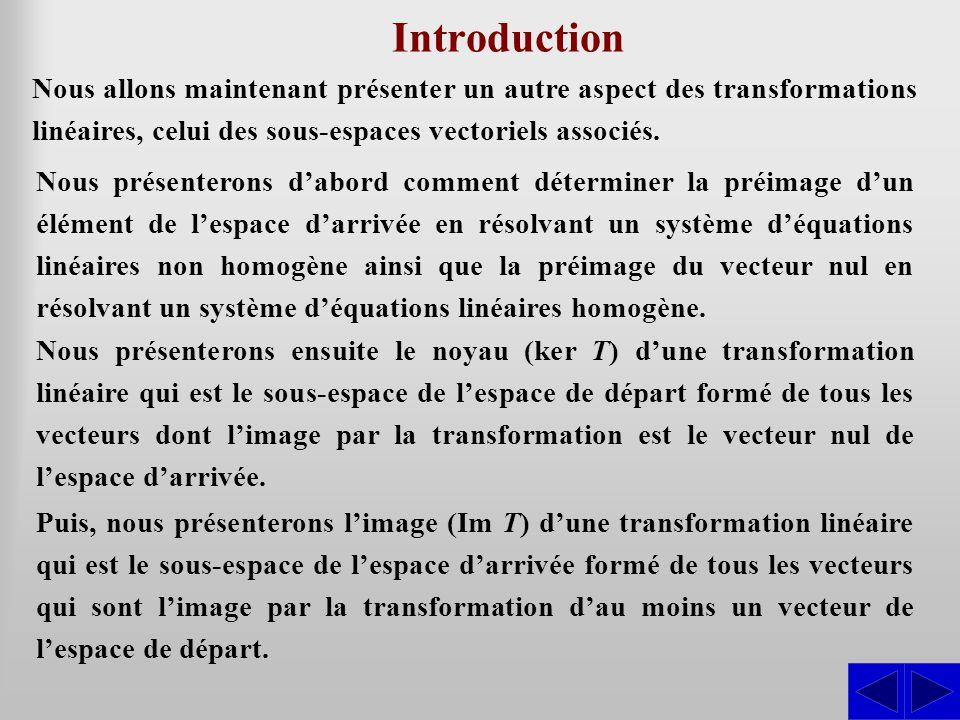 Introduction Nous allons maintenant présenter un autre aspect des transformations linéaires, celui des sous-espaces vectoriels associés.