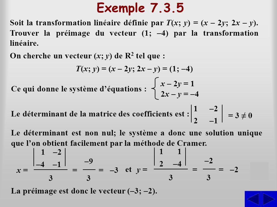 T(x; y) = (x – 2y; 2x – y) = (1; –4)
