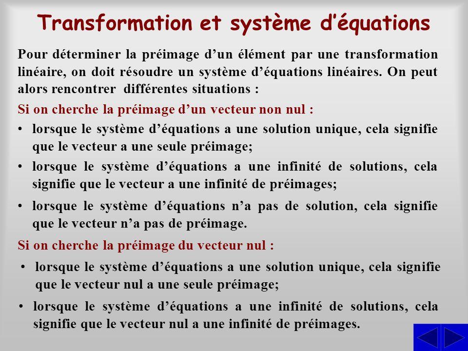 Transformation et système d'équations