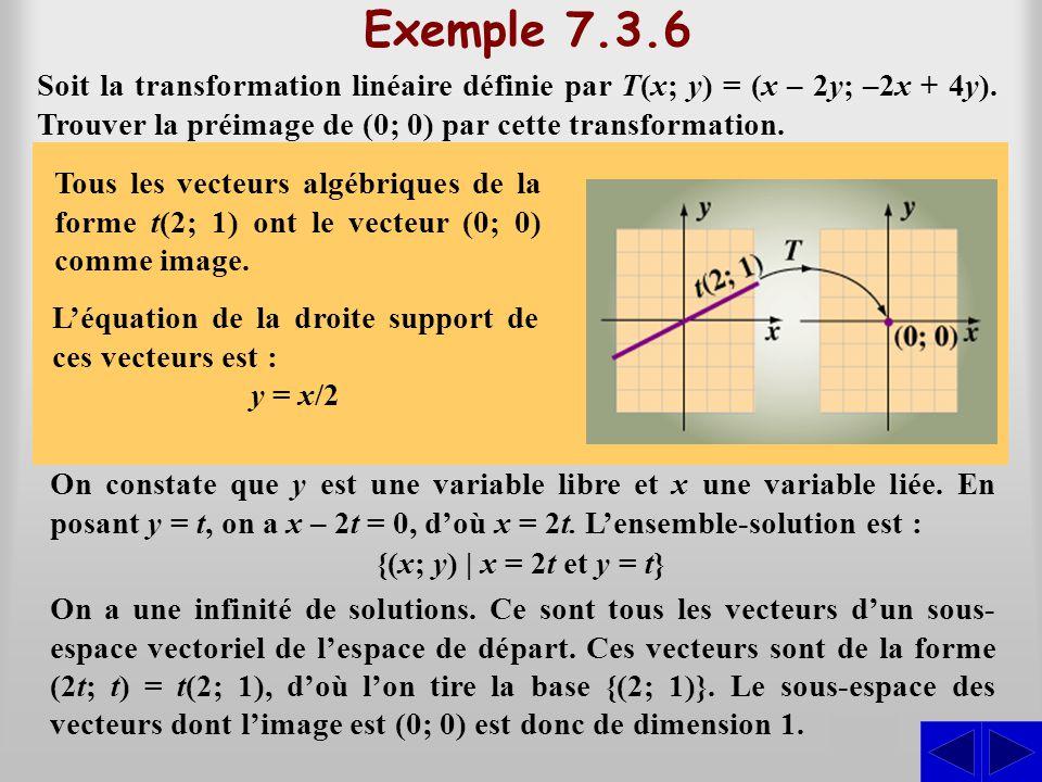 Exemple 7.3.6 Soit la transformation linéaire définie par T(x; y) = (x – 2y; –2x + 4y). Trouver la préimage de (0; 0) par cette transformation.