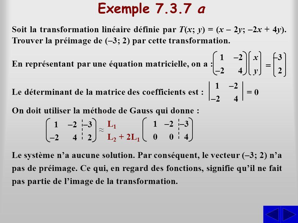 Exemple 7.3.7 a Soit la transformation linéaire définie par T(x; y) = (x – 2y; –2x + 4y). Trouver la préimage de (–3; 2) par cette transformation.