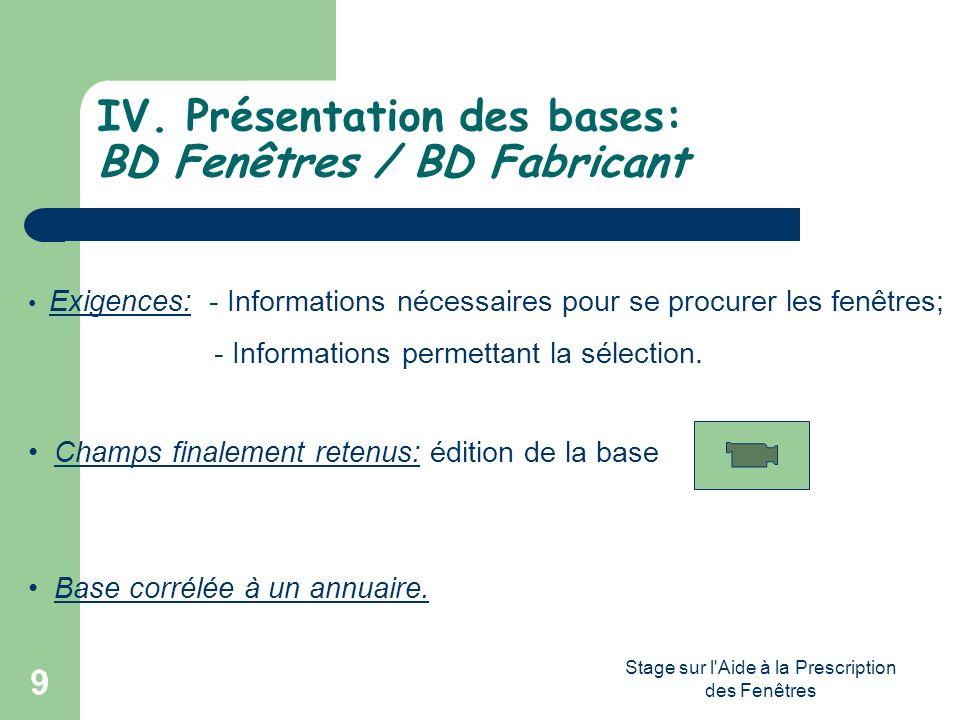 IV. Présentation des bases: BD Fenêtres / BD Fabricant