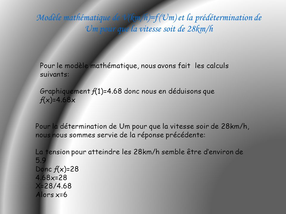 Modèle mathématique de V(km/h)=ƒ(Um) et la prédétermination de Um pour que la vitesse soit de 28km/h