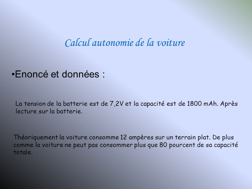 Calcul autonomie de la voiture
