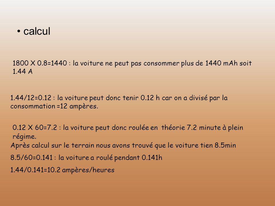 • calcul 1800 X 0.8=1440 : la voiture ne peut pas consommer plus de 1440 mAh soit 1.44 A.