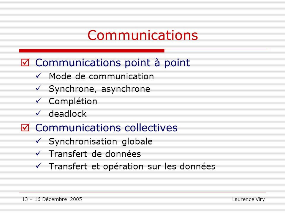 Communications Communications point à point Communications collectives