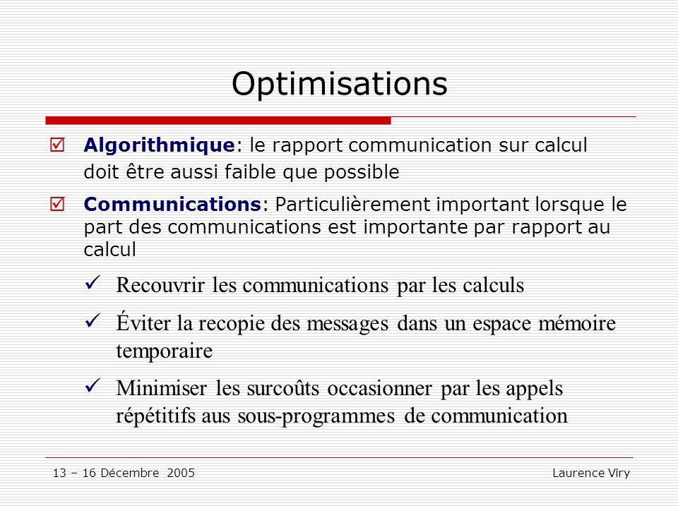 Optimisations Recouvrir les communications par les calculs