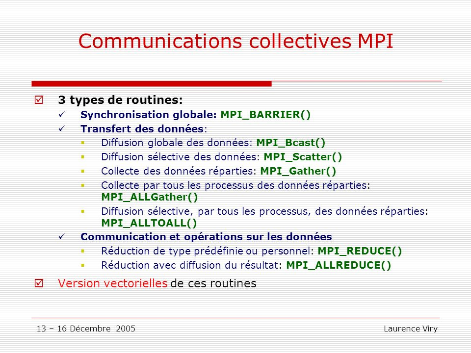 Communications collectives MPI