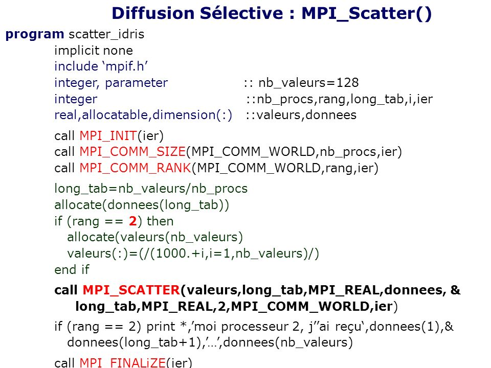 Diffusion Sélective : MPI_Scatter()