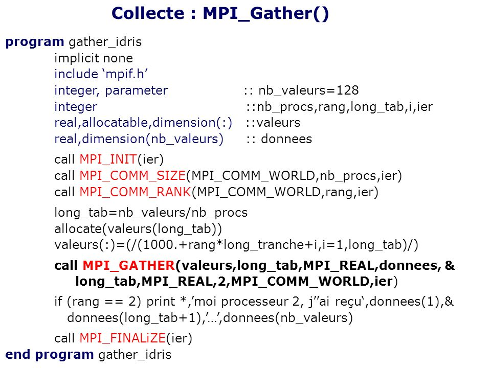 Collecte : MPI_Gather()