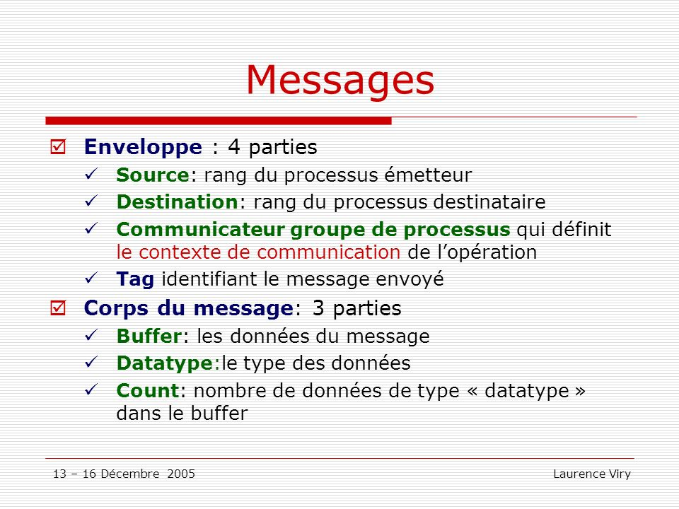 Messages Enveloppe : 4 parties Corps du message: 3 parties