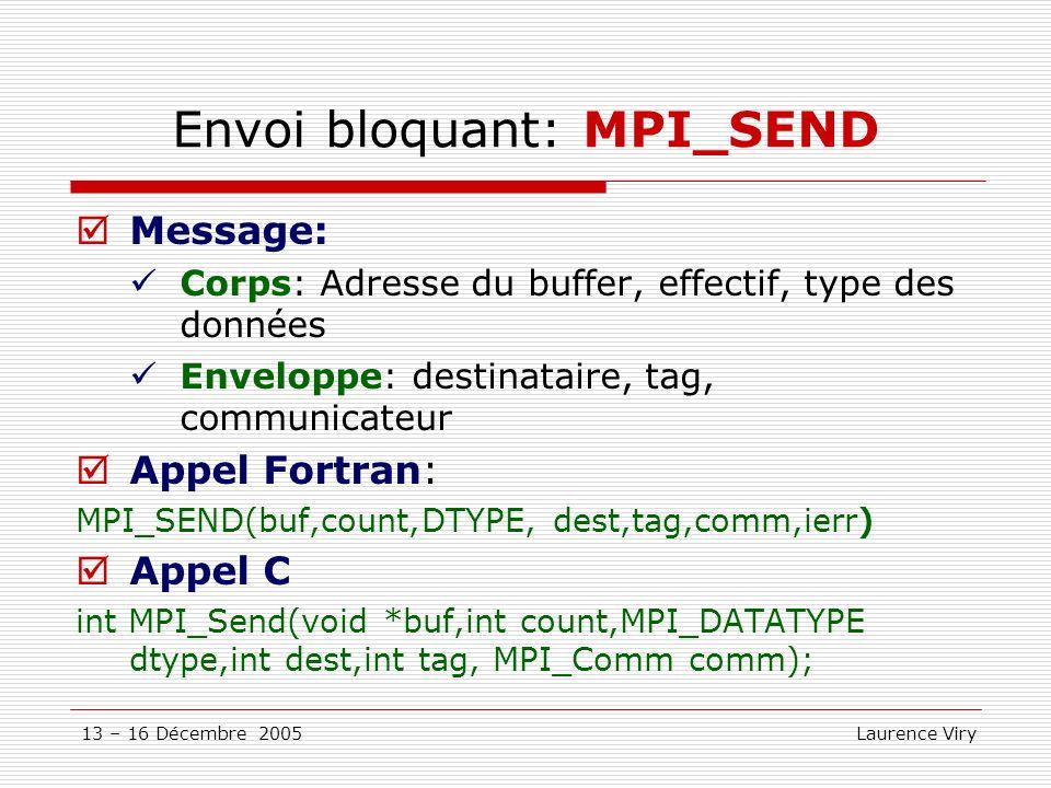 Envoi bloquant: MPI_SEND