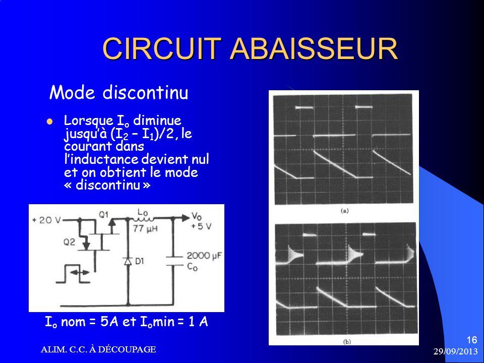 CIRCUIT ABAISSEUR Mode discontinu