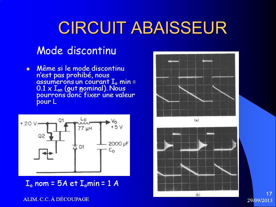 CIRCUIT ABAISSEUR Mode discontinu Io nom = 5A et Iomin = 1 A