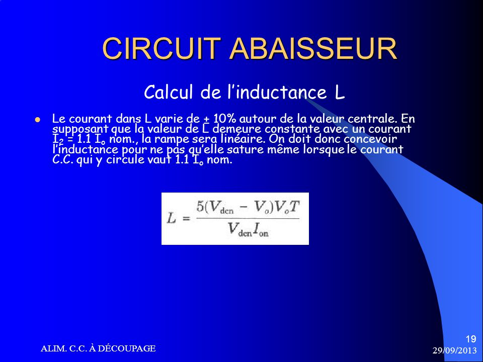 CIRCUIT ABAISSEUR Calcul de l'inductance L