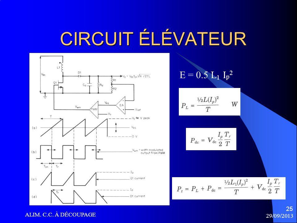 CIRCUIT ÉLÉVATEUR E = 0.5 L1 Ip2 ALIM. C.C. À DÉCOUPAGE 29/09/2013