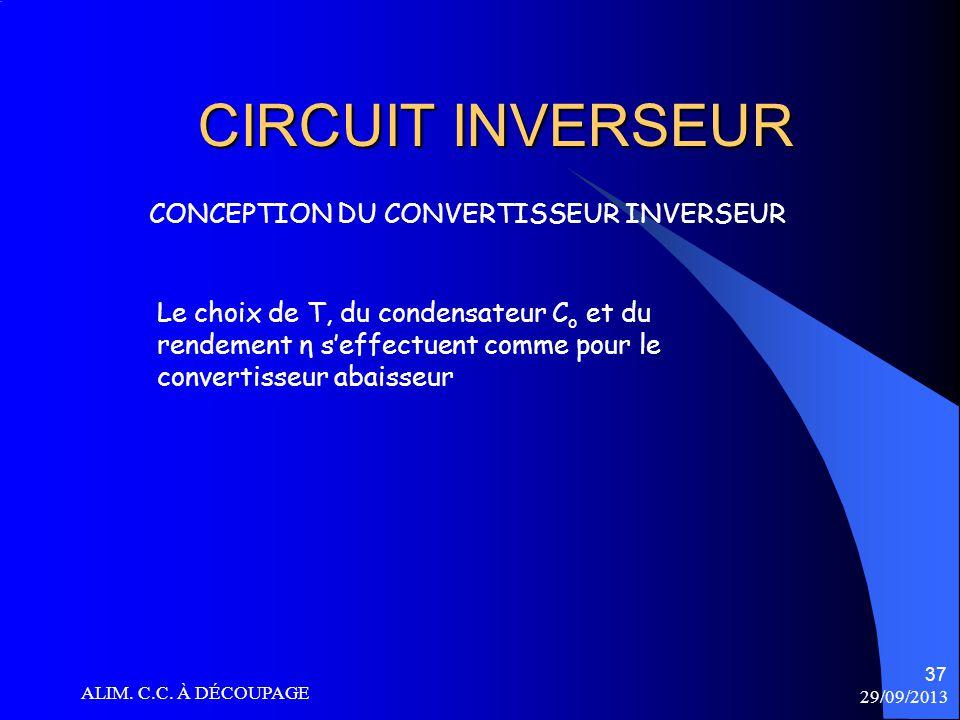 CIRCUIT INVERSEUR CONCEPTION DU CONVERTISSEUR INVERSEUR