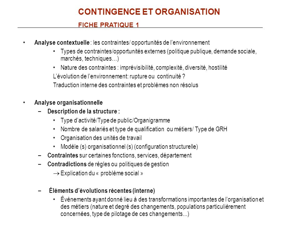 CONTINGENCE ET ORGANISATION