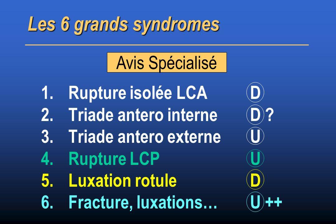 Les 6 grands syndromes Avis Spécialisé Rupture isolée LCA D