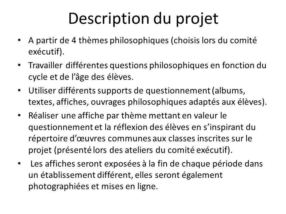 Description du projet A partir de 4 thèmes philosophiques (choisis lors du comité exécutif).