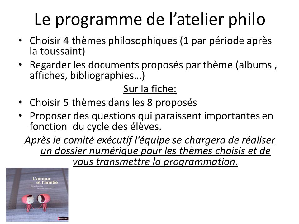 Le programme de l'atelier philo
