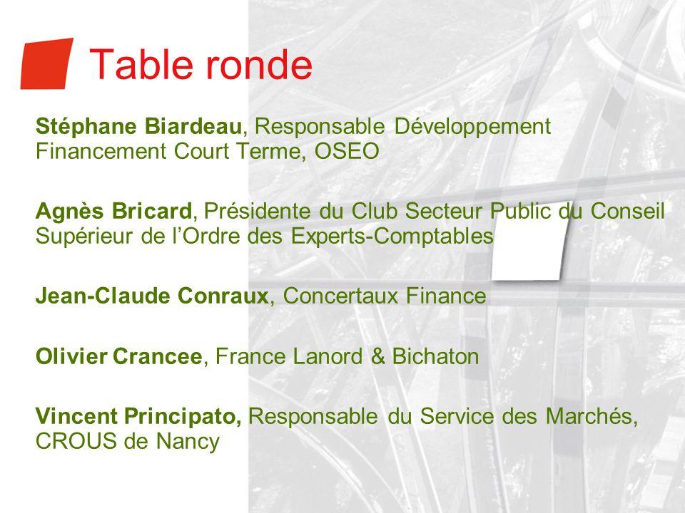 Table rondeStéphane Biardeau, Responsable Développement Financement Court Terme, OSEO.