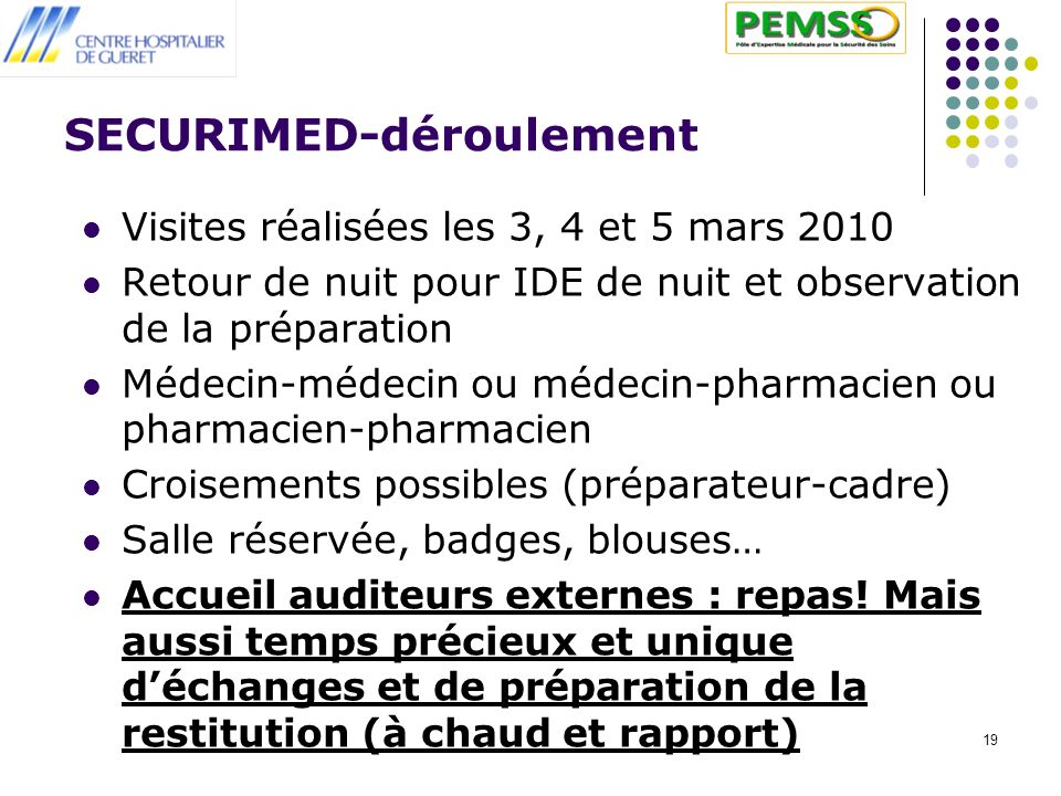 SECURIMED-déroulement