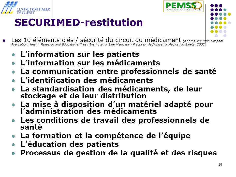 SECURIMED-restitution