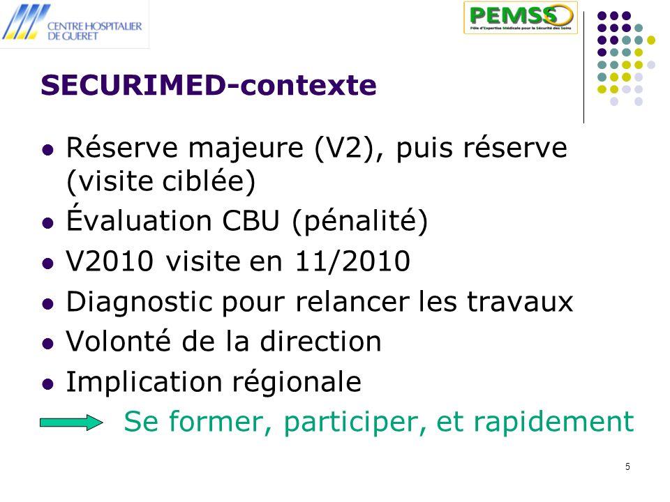 SECURIMED-contexte Réserve majeure (V2), puis réserve (visite ciblée) Évaluation CBU (pénalité) V2010 visite en 11/2010.