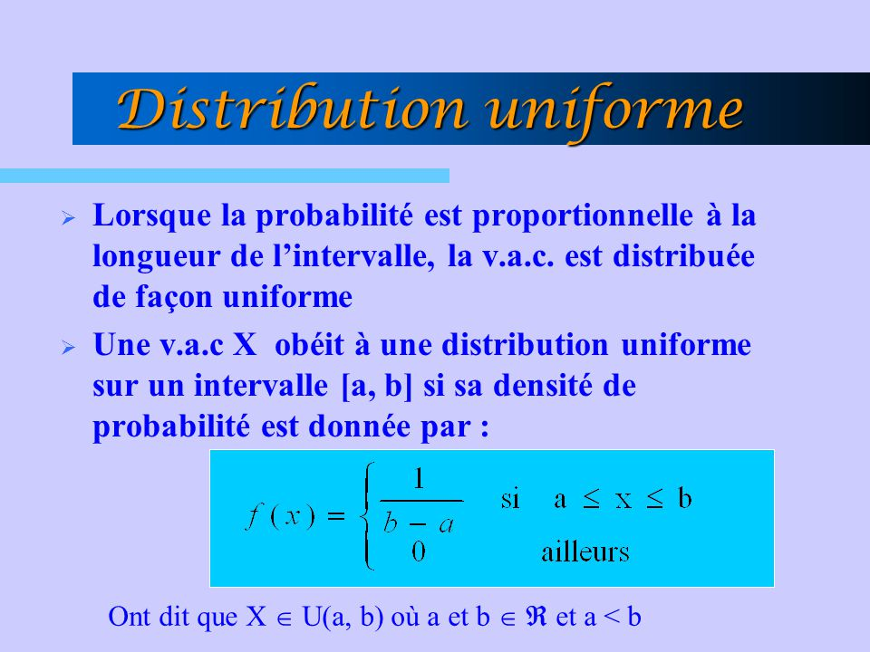 Distribution uniforme