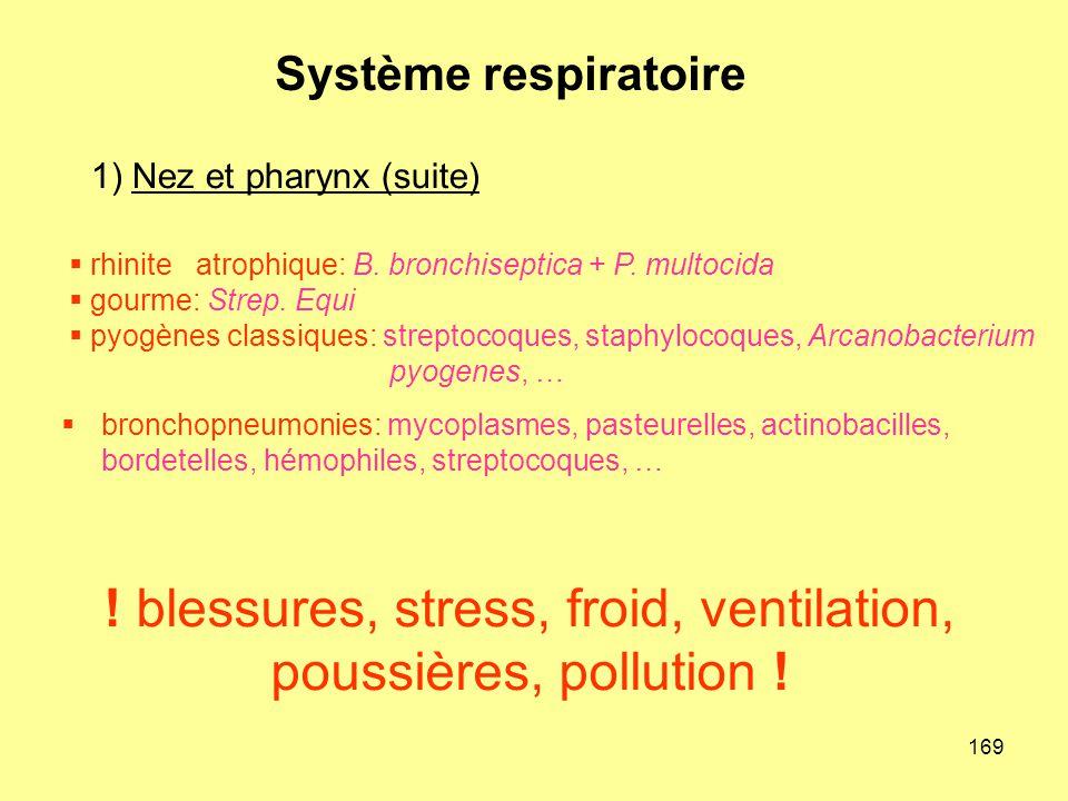 ! blessures, stress, froid, ventilation, poussières, pollution !