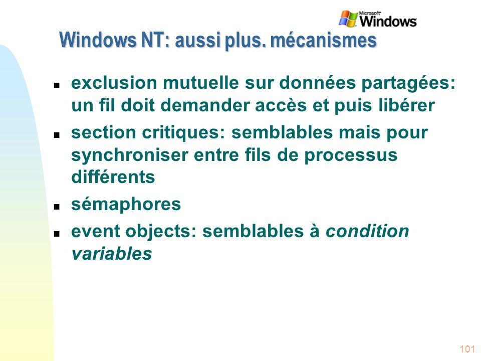 Windows NT: aussi plus. mécanismes
