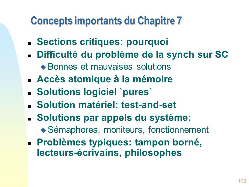 Concepts importants du Chapitre 7