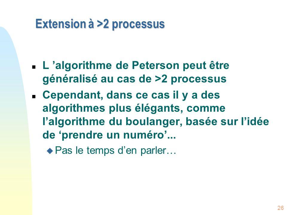 Extension à >2 processus