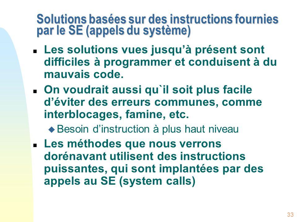 Solutions basées sur des instructions fournies par le SE (appels du système)
