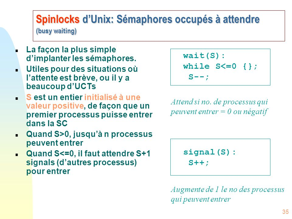 Spinlocks d'Unix: Sémaphores occupés à attendre (busy waiting)
