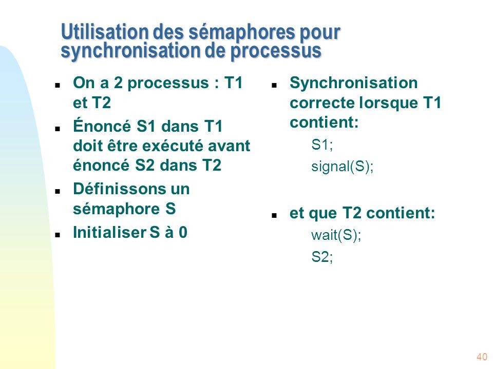 Utilisation des sémaphores pour synchronisation de processus