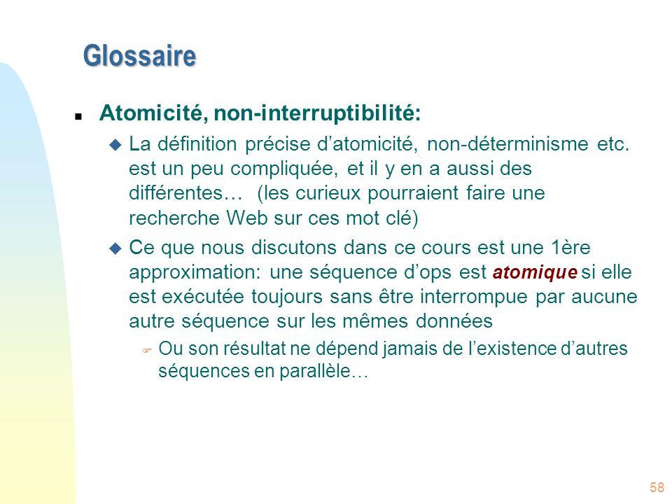 Glossaire Atomicité, non-interruptibilité: