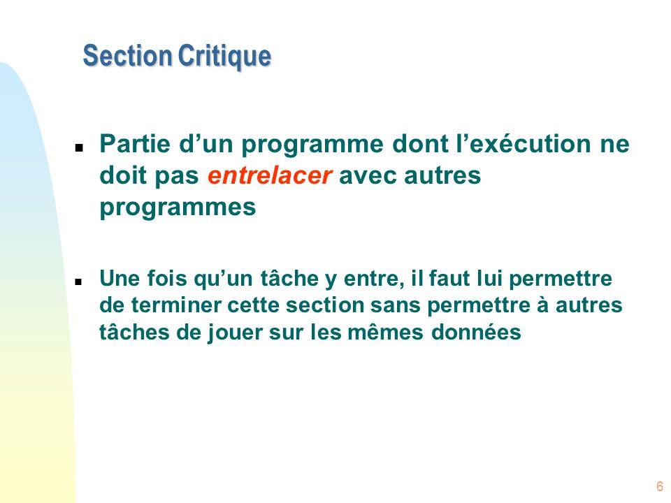 Section Critique Partie d'un programme dont l'exécution ne doit pas entrelacer avec autres programmes.