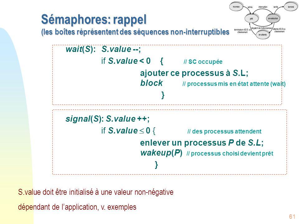 Sémaphores: rappel (les boîtes réprésentent des séquences non-interruptibles)