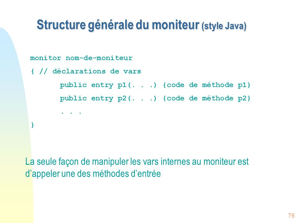 Structure générale du moniteur (style Java)