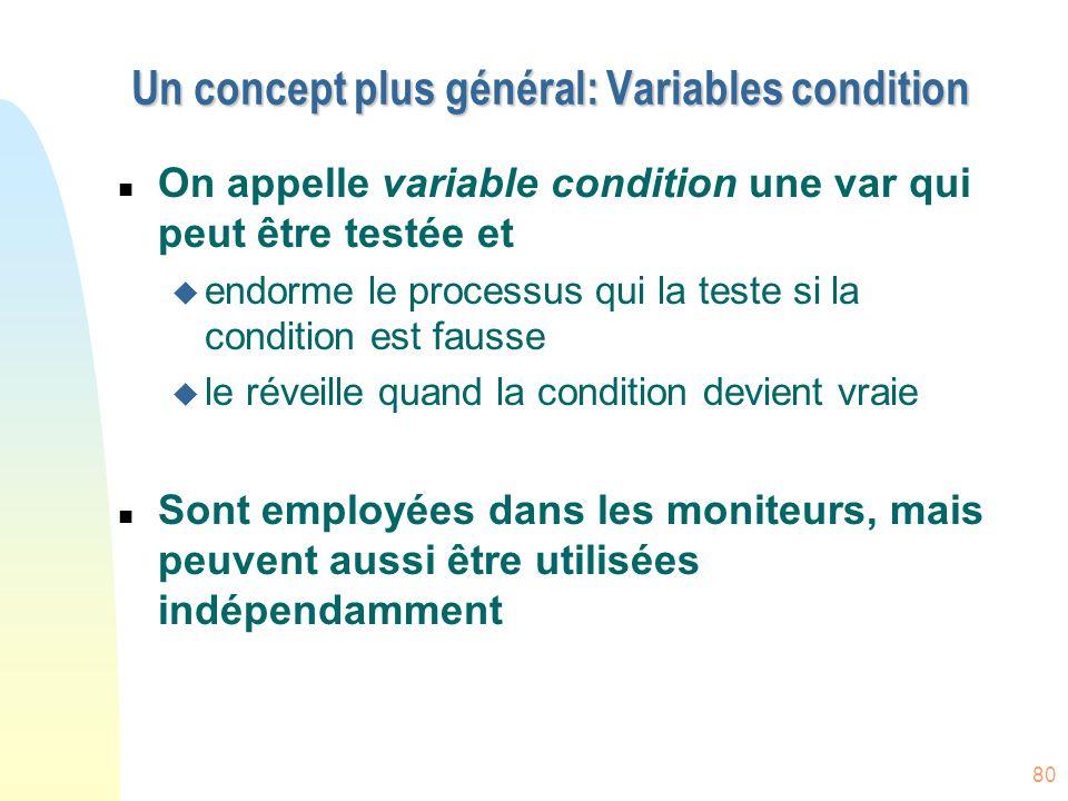 Un concept plus général: Variables condition