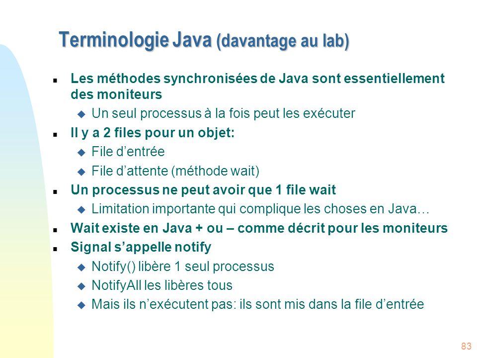Terminologie Java (davantage au lab)