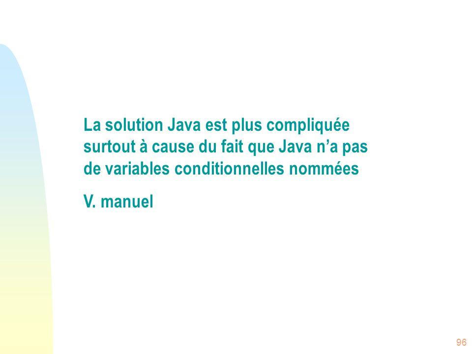 La solution Java est plus compliquée surtout à cause du fait que Java n'a pas de variables conditionnelles nommées