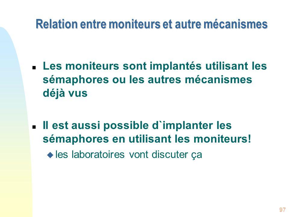 Relation entre moniteurs et autre mécanismes