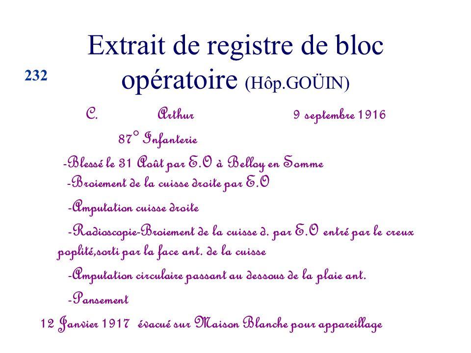 Extrait de registre de bloc opératoire (Hôp.GOÜIN)