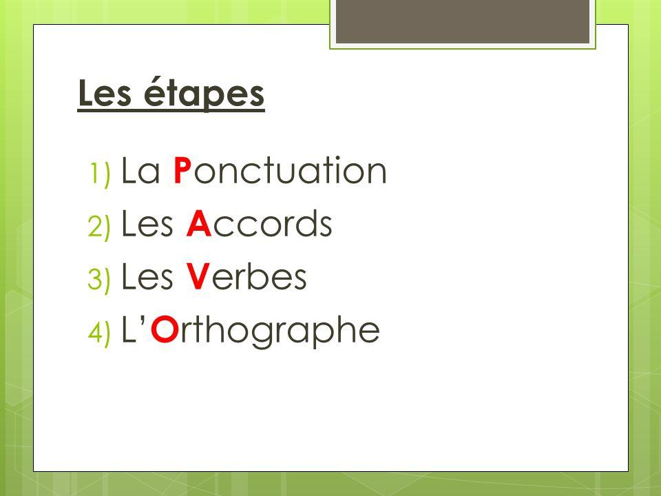 Les étapes La Ponctuation Les Accords Les Verbes L'Orthographe